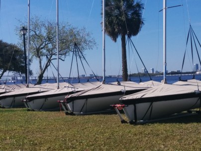 A view of downtown, as seen through the masts of boats on the Arlington side of the St. Johns River.