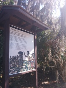 A bright view of an explanatory sign near the Timucuan Preserve in extreme northeast Arlington.