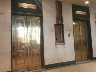 "The old elevators of Barnett Building: ""This car up."" No, they don't make elevators like they used to."