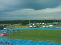 Stormy skies loom over UNF's Hodges Stadium at the NCAA East Preliminary Track Meet.