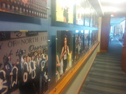These photos line the back wall of the Hodges Stadium press box.