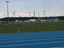 Look out! Those are javelins sticking out of the ground, all of them launched by athletes warming up at the NCAA East Preliminary Track Meet at UNF.