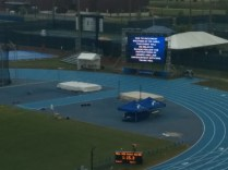 The NCAA's inclement weather warning on the scoreboard says it all.