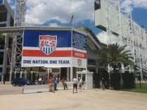A gigantic U.S. Soccer banner covers the southwest corner of EverBank Field before the USA-Nigeria international match.