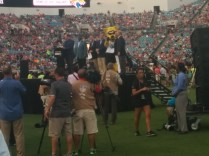 Mascot Jaxson DeVille is among those on stage as a speech introduces the new video boards at the stadium.