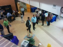 An elevated view of Tech Coast Conference displays.
