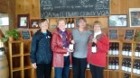 Linda Richardson, Barb Durnford, Carolyn Granger(winemaker) & Jane Anderson receiving wine donations from the Grange of PEC.