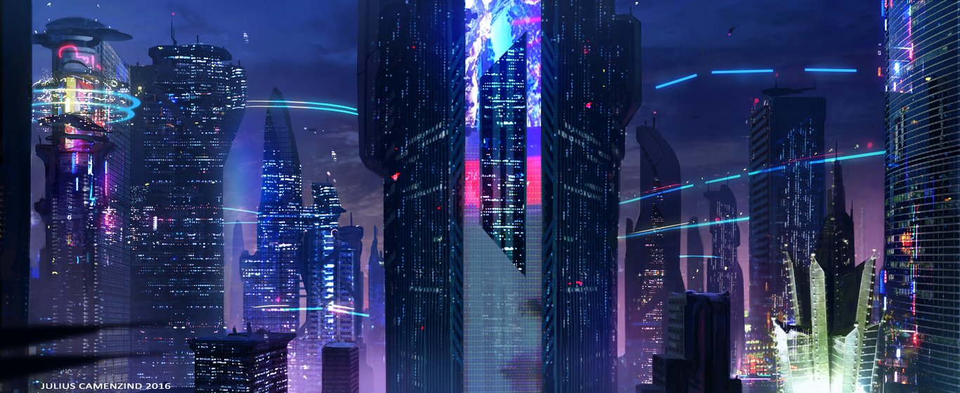 Cyber Punk City By Juliuscamenzind Sci Fi 2d Cgsociety
