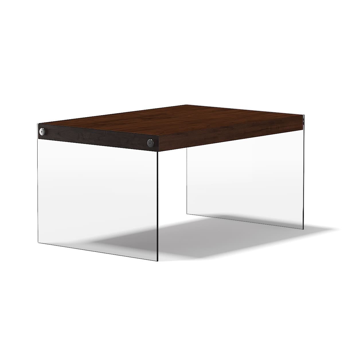 wooden coffee table with glass sides