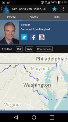 The app also shows you a district map, contact numbers, a link to the congressman's website and a shortcut to see what committees they serve on.