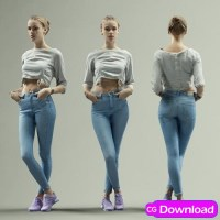 Download Sporty Girl Posing in Blue Jeans and Casual Shirt Scanned 3D Model Free