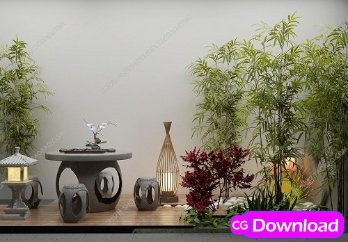 Download Coffee table stool green plant gardening sketch 3D model Free