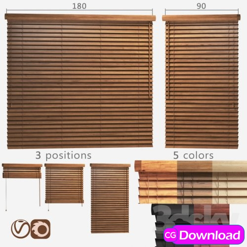 Download  Wooden blinds 50mm, 2 options of width 90 and 180cm Free