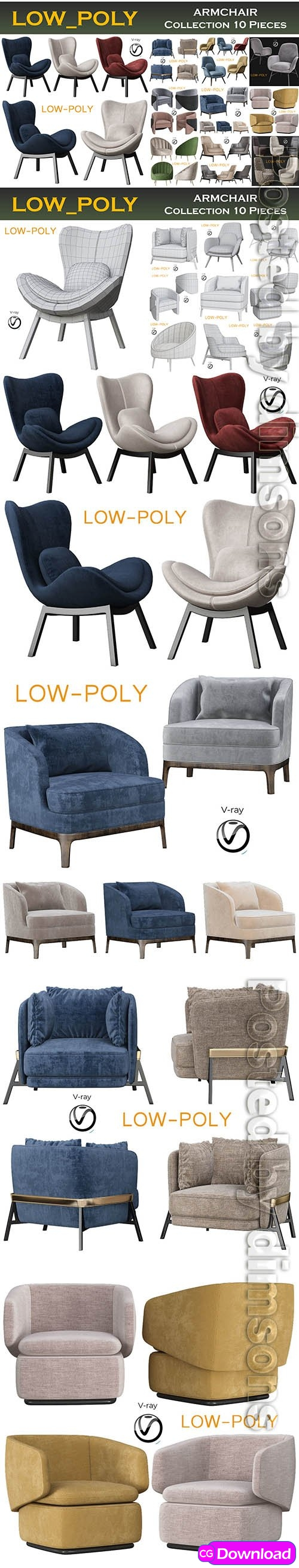 Download  Cgtrader – ARMCHAIR Collection 10 Pieces 3d model Low-poly 3D model Free