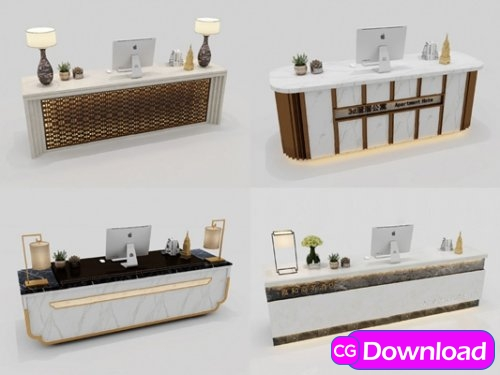Download  Modern reception desks 3d models Free