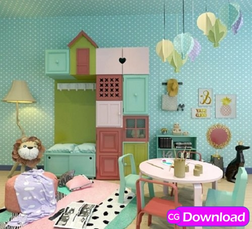 Download  Children bedroom, Table & chair 3d model Free