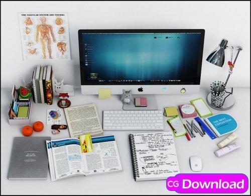 Download  Cgtrader – Desk Decoration 2 3D model Free