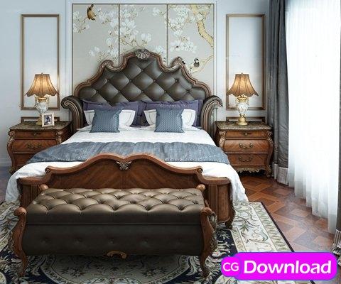 Download  European Bedroom Double Bed / Headboard Lamp Combination 3D model Free