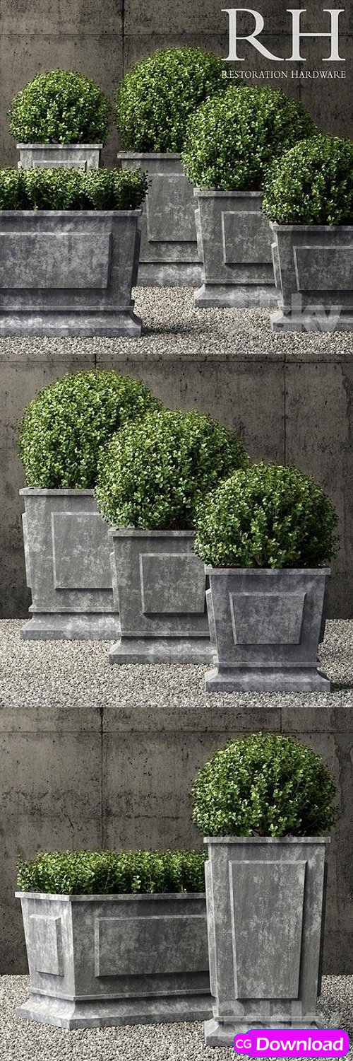 Download Restoration Hardware estate zinc paneled planters