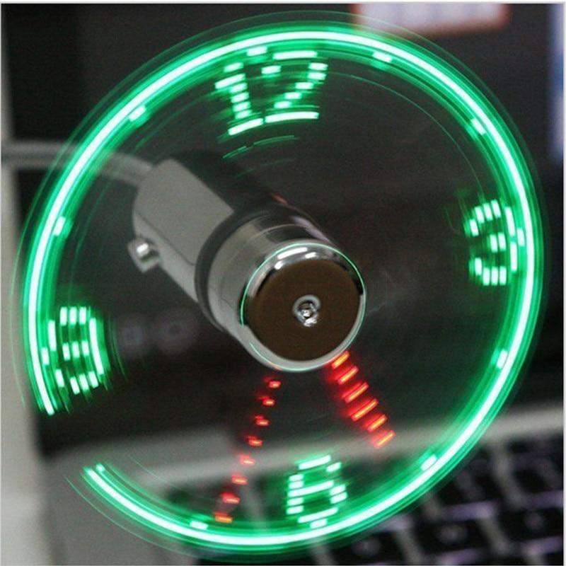 Mini USB Fan Flexible Gooseneck LED Clock Cool 1