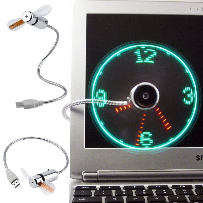 Mini USB Fan Flexible Gooseneck LED Clock Cool 3