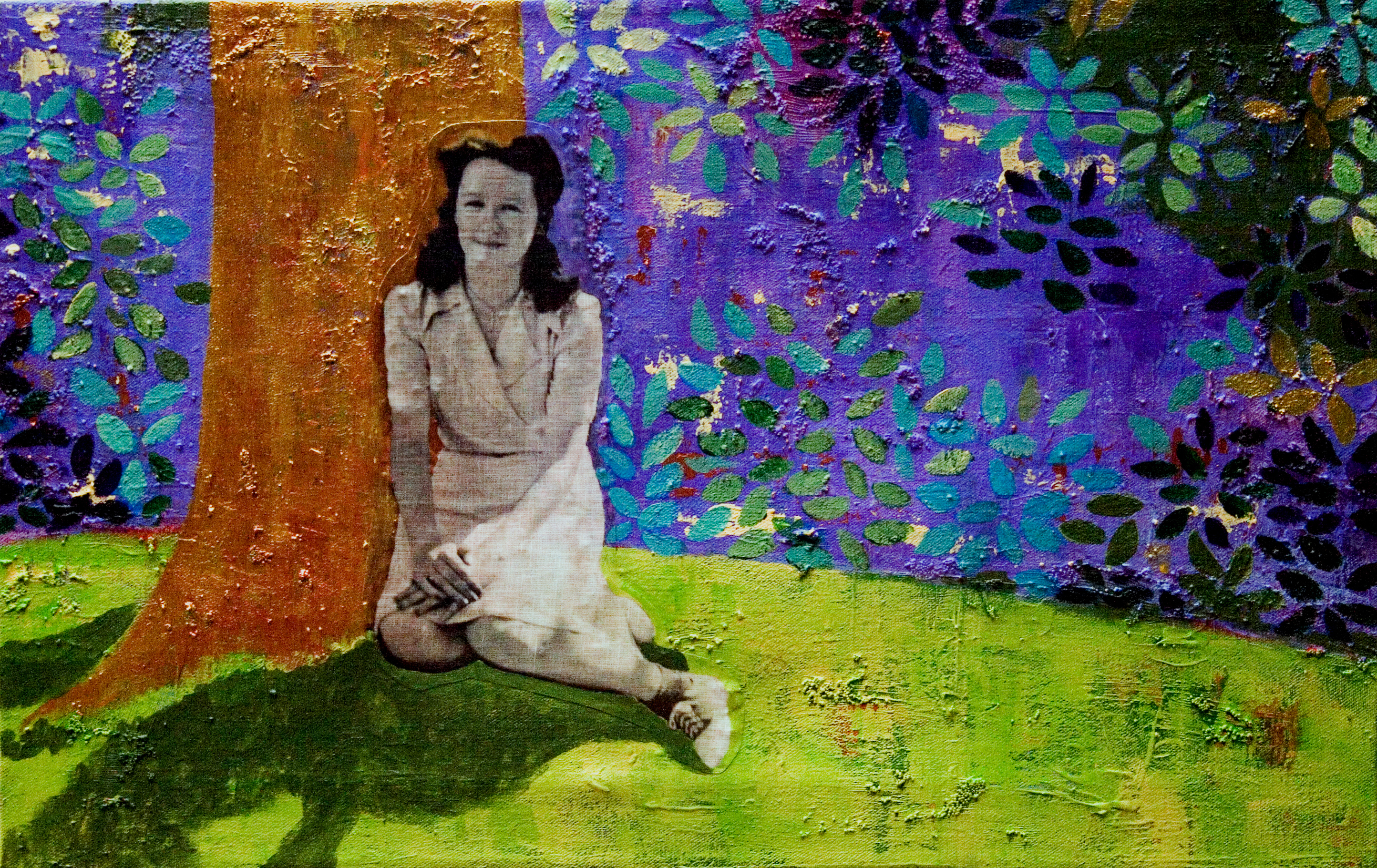 Norma on the edge of the woods (mixed media)