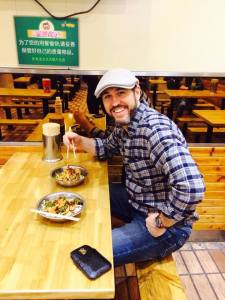 CG Fewston eating noodles in Guilin - April 2015