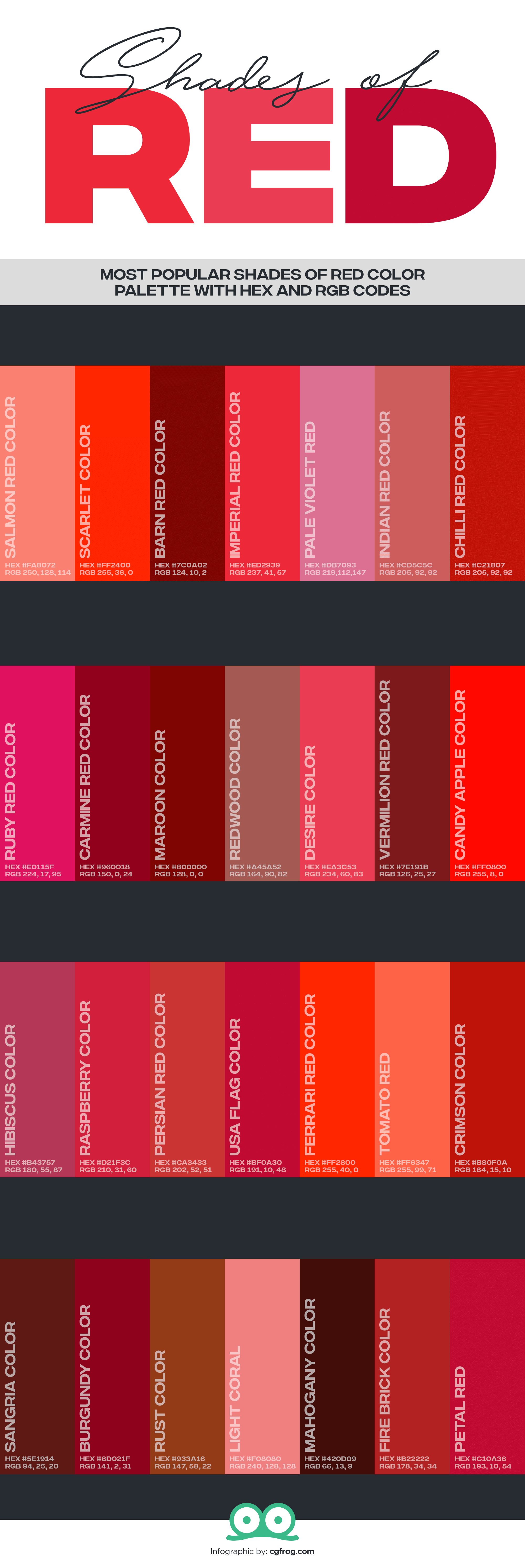 28 Shades Of Red Color Correct Name Of All Red Colors With Hex And Rgb Codes Cgfrog