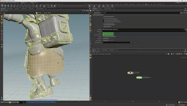 Using Houdini for Cloth Simulation in a Movie Shot