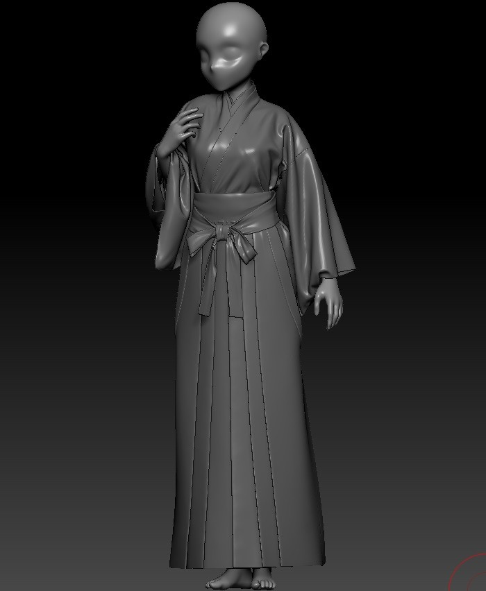 Finalized and remeshed clothes in Zbrush