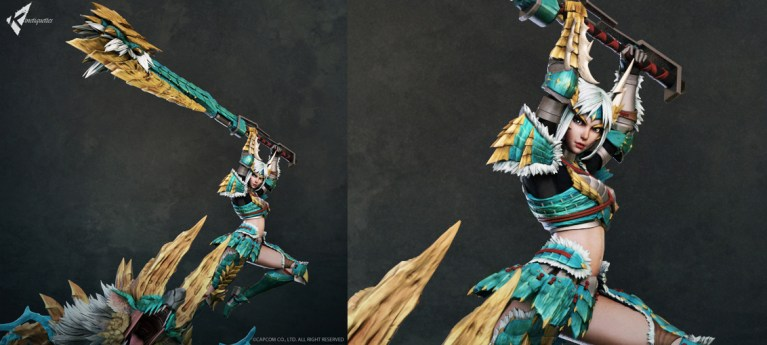 Zinogre Diorama Statue - Female Hunter by Wandah Kurniawan