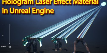 Hologram Laser Effect Material in Unreal Engine
