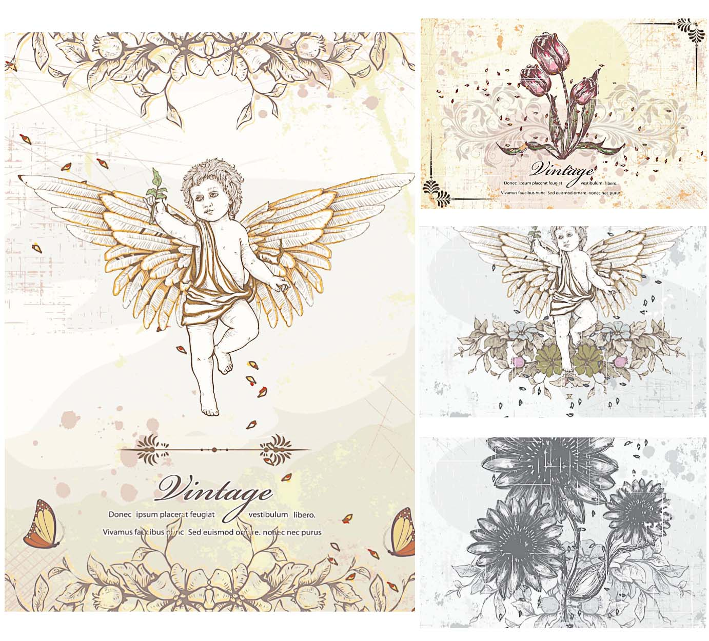 Ancient Angels And Flowers Vector Elements Free Download