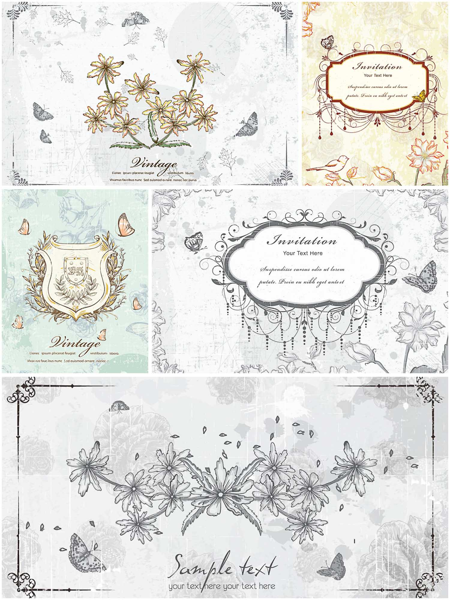 Old Floral Invitation Vector Cards Free Download