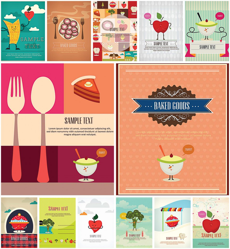 Lovely Cartoon Vegetables And Fruits Menus Free Download