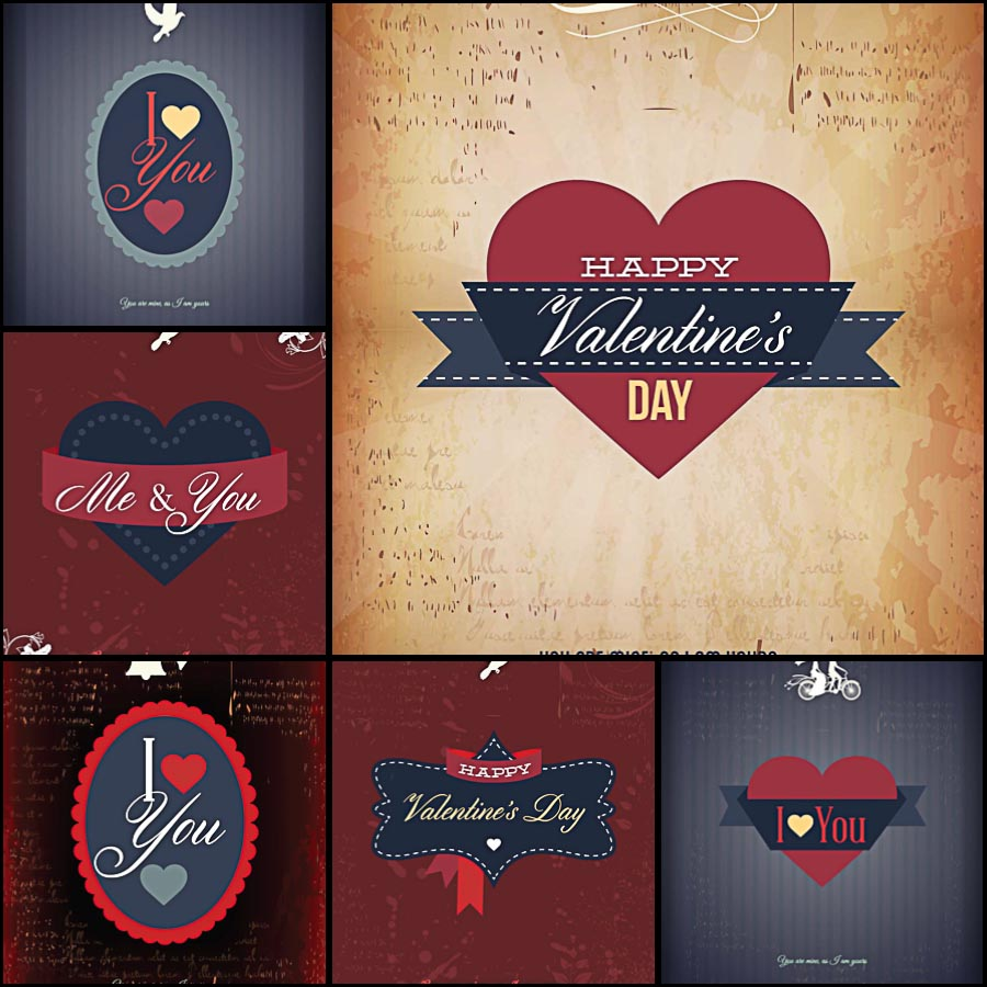 Modern Dark Valentines Day Set Vector Free Download