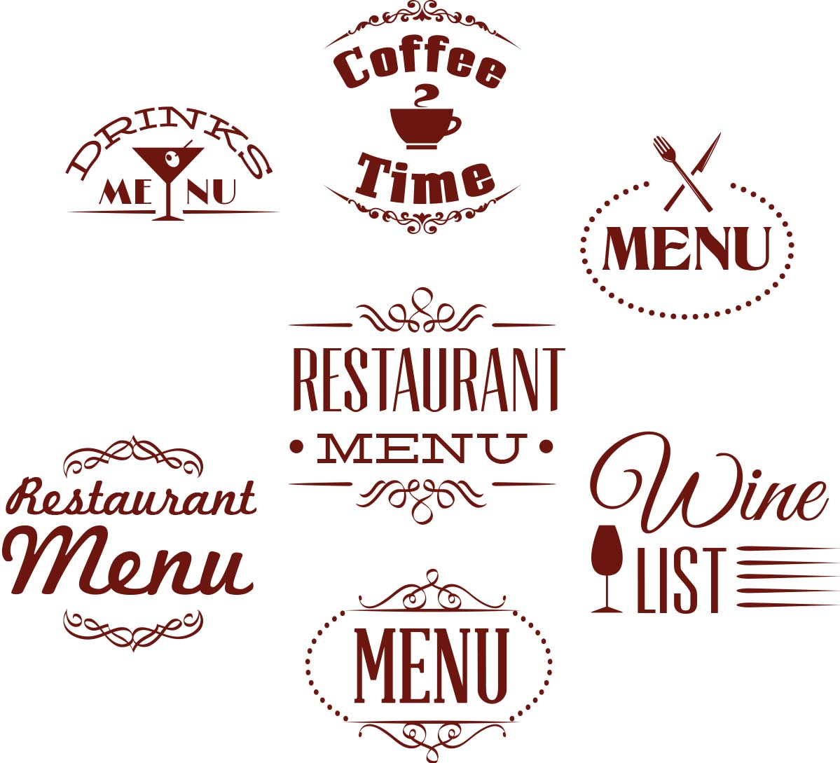 Restaurant Menu Label Ornate Set Free Download