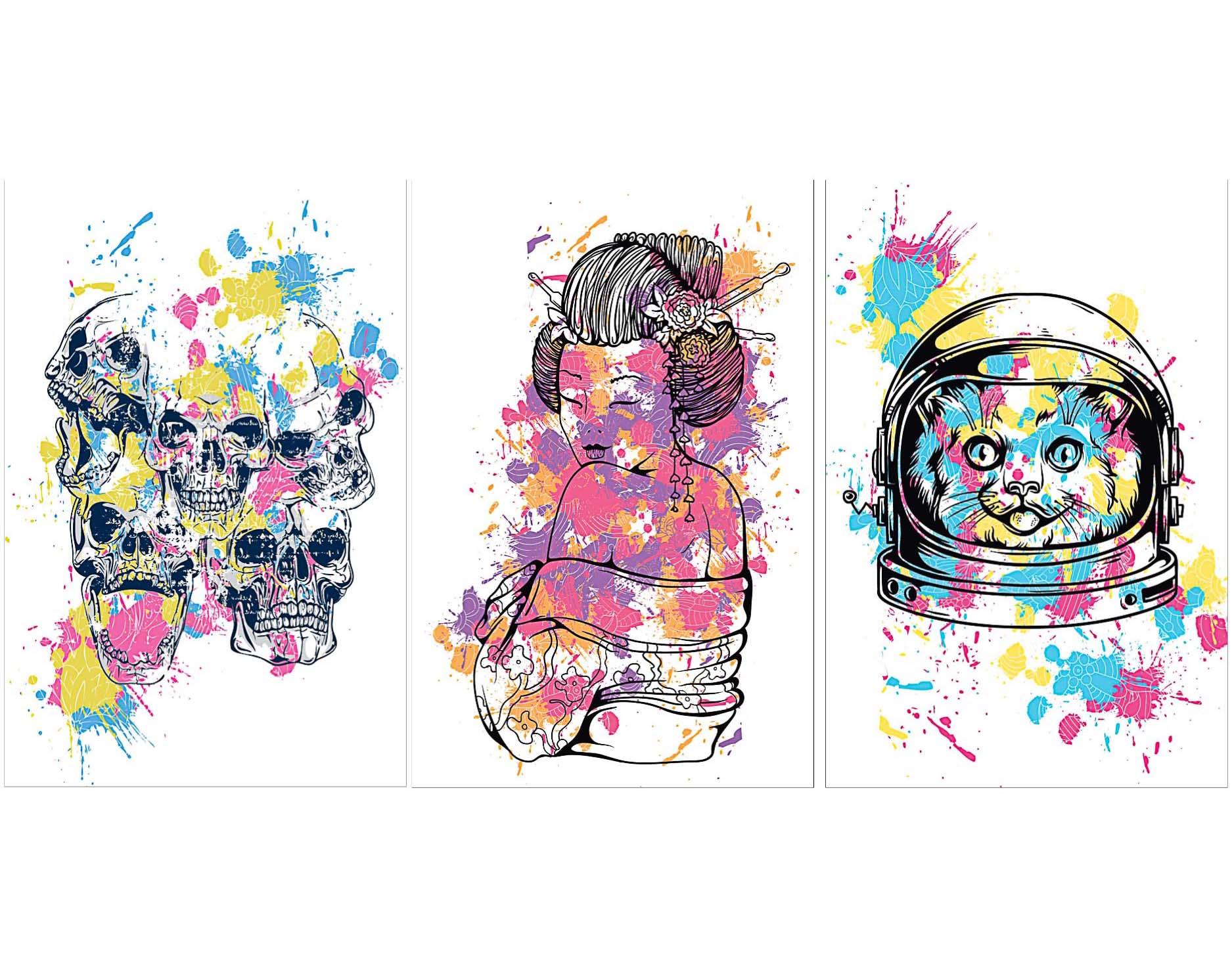Graphic Skull T Shirt Prints Set Free Download