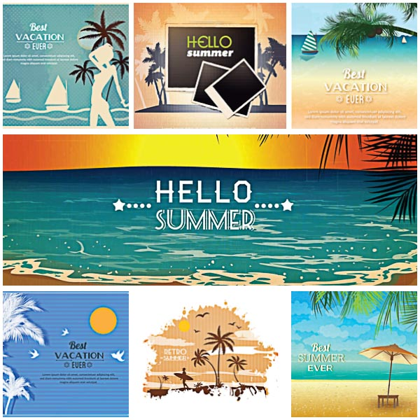 Summer Cards Retro Set Vector Free Download