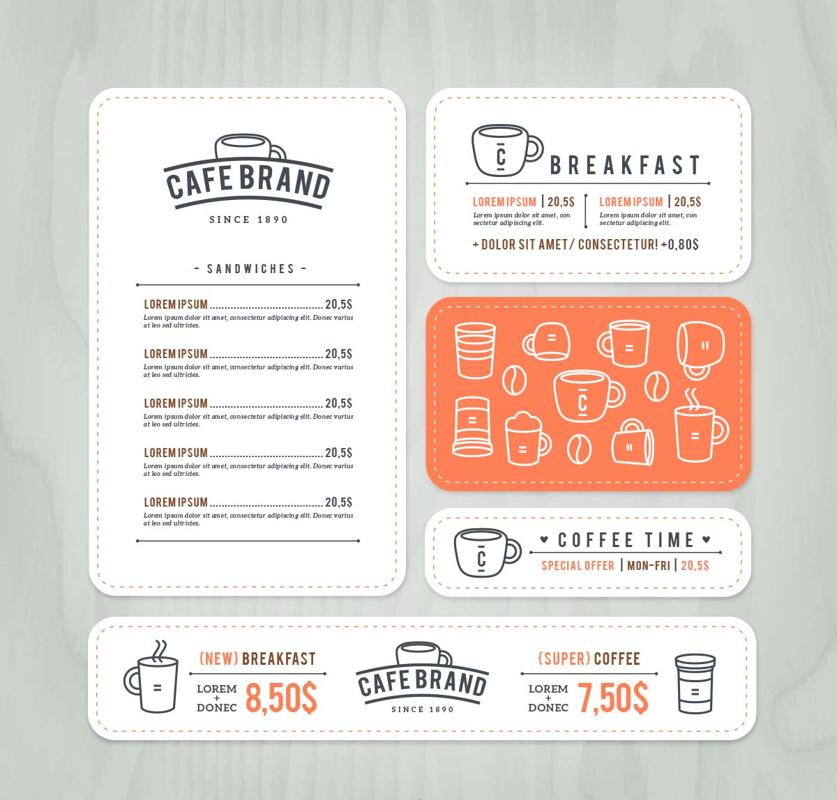 Cafe Brand Menu Cards Set Vector Free Download