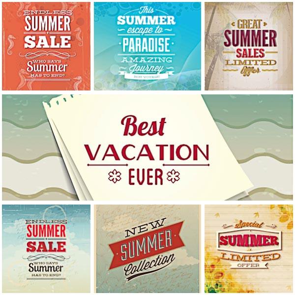 Summer Slogan Illustration Set Vector Free Download