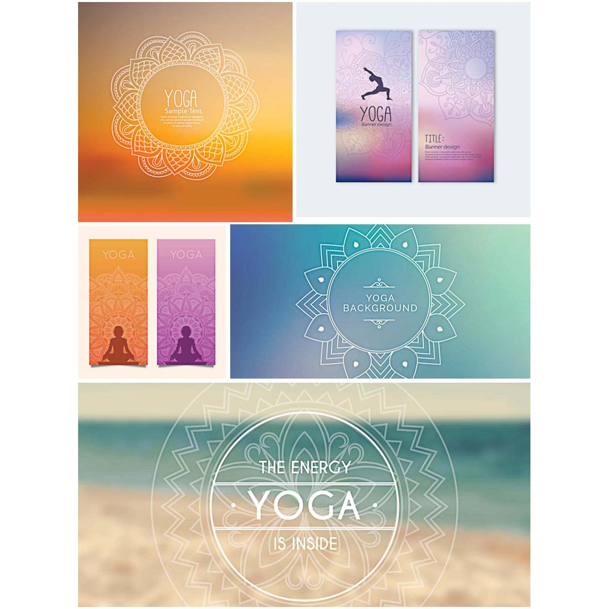 Yoga Banners Set Vector Free Download