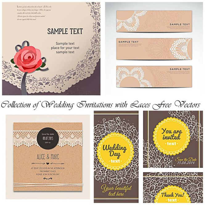Wedding Invitations With Laces Vector