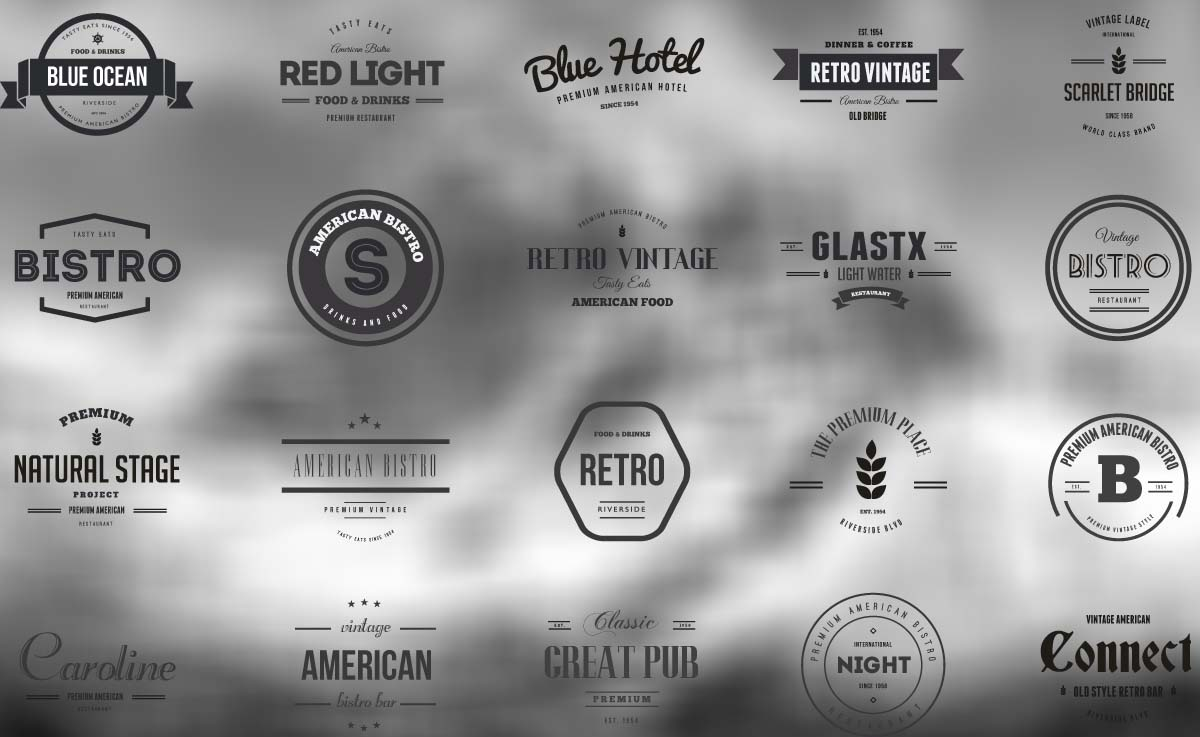 Vintage Logos And Badges Bistro And Hotel Vector Free