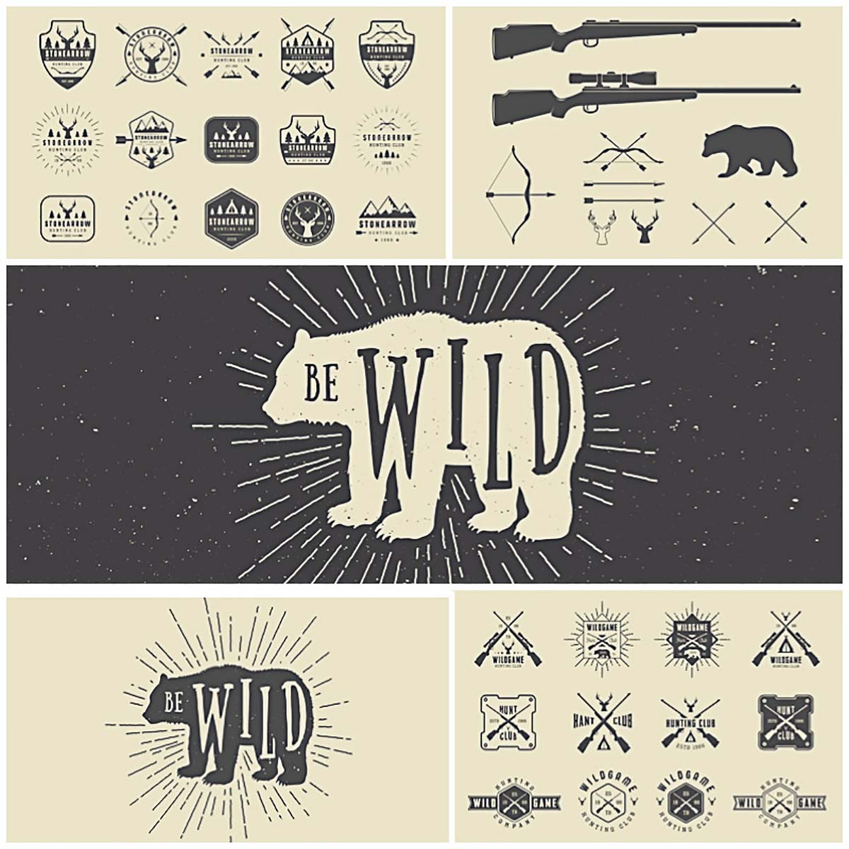 Vintage Hunting Logos With Bear Vector Bundle Free Download