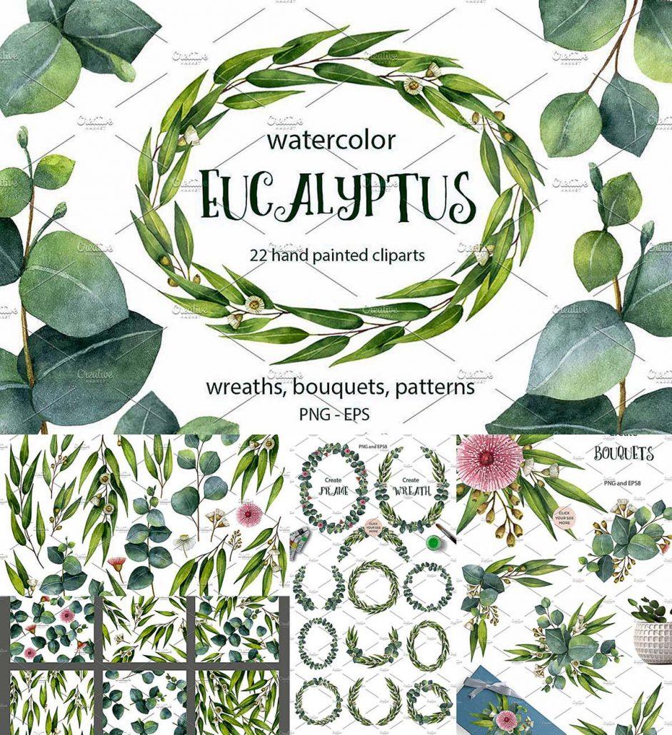 Watercolor Eucalyptus Free Download