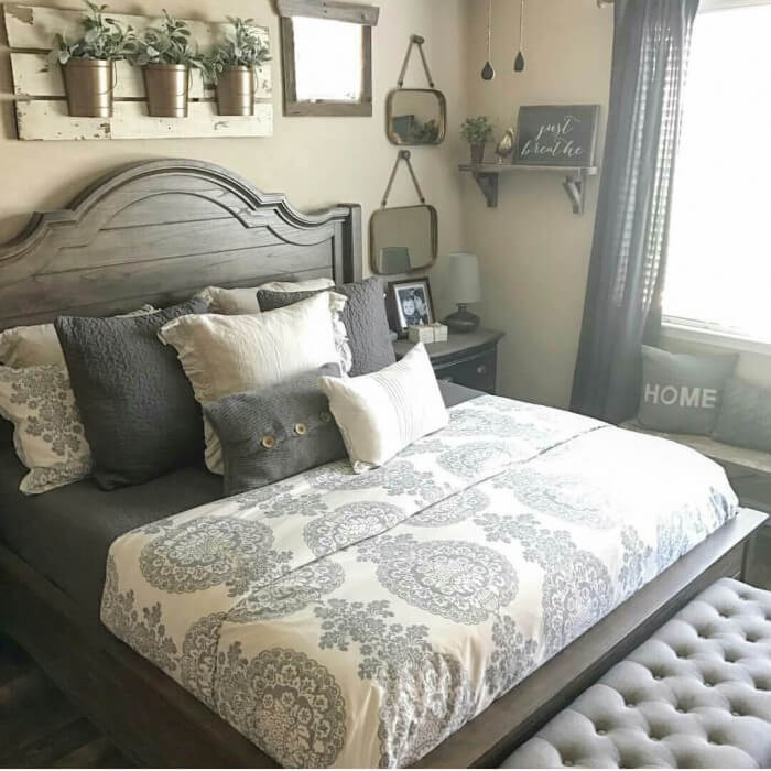 40 Best Rustic Farmhouse Bedroom Design and Decor Ideas ... on Farmhouse Bedroom Curtain Ideas  id=56430