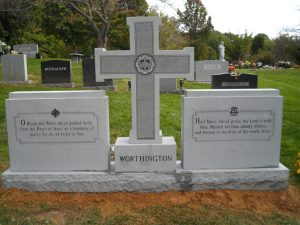 Georgia Gray Granite, double headstone with cross, back view
