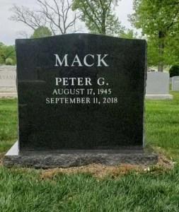Black granite upright headstone, or monument