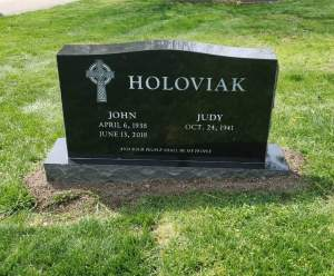 upright jet black granite headstone